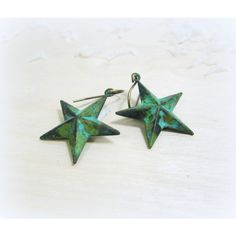jewelry, earrings, verdigris teal green stars, artisan jewelry,... ($25) ❤ liked on Polyvore featuring jewelry and earrings