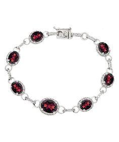 Garnet, Cubic Zirconia & Sterling Silver Oval Tennis Bracelet