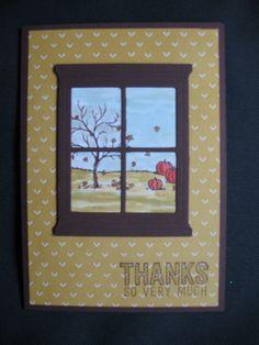 mooie Herfst kaart gemaakt met de nieuwe SU set Happy scenes en de Heart & Home Thinlits dies.