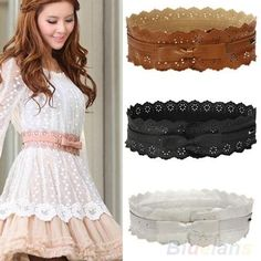 Womens Vintage PU Leather Hollow Flowers Lace Bowknot Wide Waist Waistband Belts
