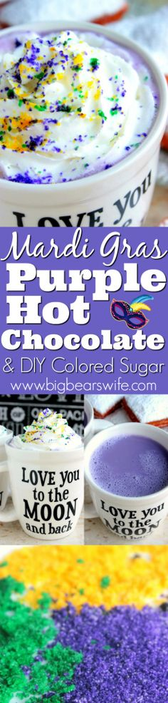 Mardi Gras Purple Hot Chocolate PLUS DIY Colored Sugar - ☕☕☕Looking for an easy Mardi Gras recipe this year? ☕☕☕This Mardi Gras Purple Hot Chocolate PLUS DIY Colored Sugar is perfect for celebrating! But let's be honest, purple hot chocolate is perfect for Easter and Mother's Day too!