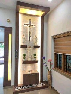 Living Room Partition Design, Pooja Room Door Design, Home Room Design, Small House Design, Design Hall, Altar Design, Home Altar Catholic, Temple Design For Home, Prayer Corner