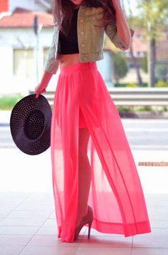 Loving this skirt: short skirt with shear floor length front slitted skirt. Love this salmon color!!