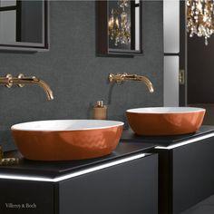 Black Painted Walls, Black Walls, Bathroom Trends, Modern Bathroom, Sink Inspiration, Vanity Basin, Countertop Basin, Villeroy, Bathroom Colors