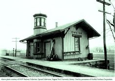 OMEGA , Ohio, USA - Norfolk Southerrn train depot     -    Victorian  Queen Anne Style architecture with cupola  OL