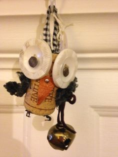 Up cycled cork owl ornament