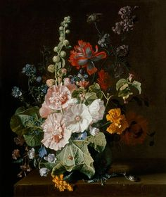 Jan van Huysum - Hollyhocks and Other Flowers in a Vase