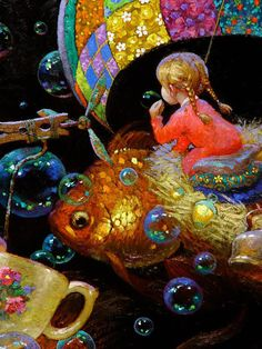 Victor Nizovtsev is a Russian a skillful oil painter that has perfected his technique in creating magical paintings, that bring the viewer into the childhood memories, where the world is filled wit… Victor Nizovtsev, Magical Paintings, Owl Paintings, Pop Surrealism, Whimsical Art, Surreal Art, Art Blog, Amazing Art, Illustrators