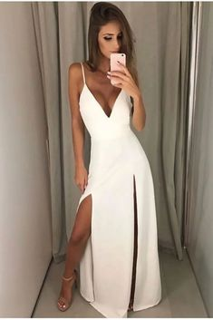 Sexy White Prom Dress, V-neck Long Prom Dresses, Halter Backless Prom Dress,Satin Long Evening Dress Formal Dress Princess Prom Dresses, Mermaid Prom Dresses, Selfies, Casual Dresses, Short Dresses, Maxi Outfits, Backless Prom Dresses, Dress Prom, Formal Evening Dresses