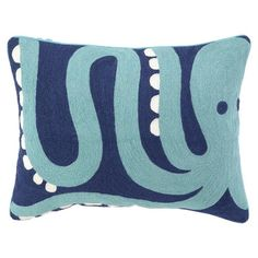 Handmade cotton pillow with a plush down fill. Showcases a crewstitch octopus motif in blue, turquoise, and ivory.    Product: Pillow
