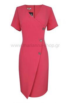 Φόρεμα κρουαζέ φρεζ.Είναι σε ίσια γραμμή με κοντά μανίκια και διακοσμητικά κουμπιά. Κουμπώνει στην πλάτη με φερμουάρ.Ελληνική ραφή. Casual Looks, Dresses For Work, Shopping, Fashion, Moda, Fashion Styles, Fashion Illustrations, Casual Clothes, Casual Styles