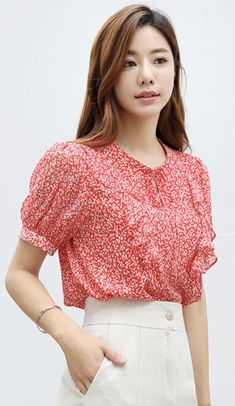Korean Women`s Fashion Shopping Mall, Styleonme. Blouse Styles, Blouse Designs, Hijab Styles, Modern Aprons, Womens Trendy Tops, African Traditional Dresses, How To Pose, Casual Elegance, Korean Women