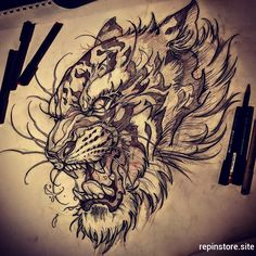 Awesome by who is always creating fantastic s and artwork. Check out his page for… tattoo designs ideas männer männer ideen old school quotes sketches Foo Dog Tattoo, Lion Tattoo, Tattoo Ink, Tiger Tattoo Sleeve, Tattoo Sleeve Designs, Sleeve Tattoos, Chest Tattoo Tiger, Dragon Tiger Tattoo, Dragon Tattoos