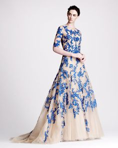 Monique Lhuillier Three-Quarter Tulle & Lace gown, with the loveliest touch of blue.
