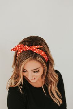 Dashed red hair scarf. #accessories #redhairscarf Red Hair Accessories, Headband Hairstyles, Hair Ties, Scrunchies, Style Me, Ootd, Dress, Outfits, Fashion