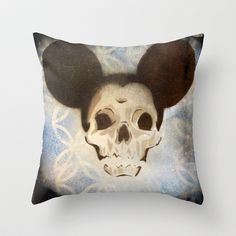 retro micky mouse skull Throw Pillow by Joedunnz - $20.00