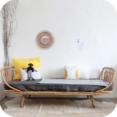Lit rotin daybed | Rattan daybed #vintage #French