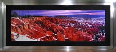 Huge 2.4m Peter Lik limited edition photograph of Bryce Canyon, Utah titled Canyon Glow in a 113.5 in x 50.5 in stainless steel stacked frame
