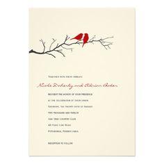 Birds Silhouettes Wedding Invitation Red