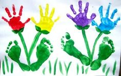 Spring hand and footprint art!