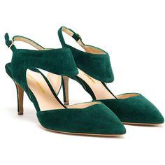 Nicholas Kirkwood Suede Sling Back Pumps ($485) ❤ liked on Polyvore featuring shoes, pumps, green, heels, suede leather shoes, cutout shoes, cut-out shoes, suede shoes e slingback pumps