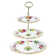 "Royal Albert, Royal Doulton Old Country Roses Christmas Tree Server, Tidbit Server ware adds a seasonal. Size: 14"" high x 10 1/2"" wide overall - Dinner plate - 10 1/2"" Salad plate - 8 1/4"" Bread and butter plate - 6 3/8"". 