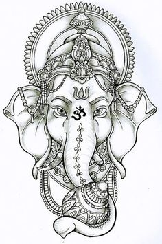 Ganesh Everywhere — Lord Ganesha Ganesh Tattoo, Tattoo Henna, Tattoo Art, Ganesha Drawing, Ganesha Sketch, Ganesha Art, Lord Ganesha, Lotus Tattoo Design, Tattoo Designs