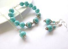 Turquoise Pearl Jewelry Set Boho style wedding Jewelry