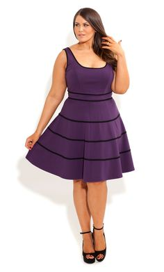 City Chic - SWING SKATER DRESS - Women's plus size fashion