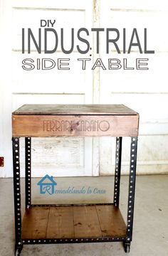 DIY Industrial Side Table DIY Industrial Side Table,DIY furniture and home decor DIY Industrial Side Table - Give the industrial look a try - a wine crate + slotted angles and wheels home decor house projects side table wood projects stand ideas Industrial Side Table, Vintage Industrial Furniture, Industrial Style, Industrial Lamps, Industrial Kitchens, Table Cafe, Diy Table, Crate Table, Furniture Projects