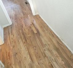 Red Oak Stained with a custom blend of Bona brand. Recipe: ½ neutral poly ¼ grey ¼ jacobean Plus satin poly finish Red Oak Stain, Red Oak Floors, Real Wood Floors, Wide Plank Flooring, Engineered Hardwood Flooring, Hardwood Floor Stain Colors, Oak Floor Stains, Installing Hardwood Floors, Kitchen Flooring