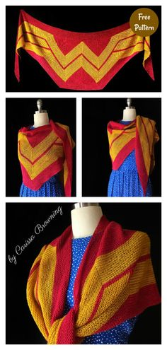 You can transform yourself into a wonder woman with this amazing Wonder Woman Wrap Free Knitting Pattern. You can choose your own color. Free Knitting, Free Crochet, Knit Crochet, Crochet Cross, Crochet Baby, Animal Knitting Patterns, Crochet Patterns, Wonder Woman, Girls Pinafore Dress