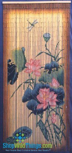 """Natural Flower Scene with Dragonfly - Painted Bamboo Door Curtain (on Hit TNT TV Show Rizzoli & Isles!) by ShopWildThings. $46.99. This awesome 90 strand bamboo painted curtain shows the image on both sides! (as do the rest of our bamboo curtains)...36"""" wide, 78"""" long. Hundreds and hundreds of pieces of bamboo are hand-painted to create this amazing piece! Use beaded curtains in a doorway, in a window, on a patio, as a room divider, as a wall hanging...the possib..."""