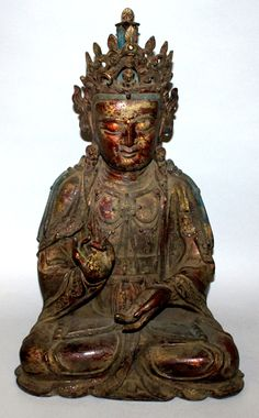 A good large Chinese Ming dynasty lacquered bronze figure of Amitayus Buddha, 23in high. Est. £6,000 - £8,000.