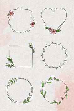 Doodle floral wreath vector collection | premium image by rawpixel.com / nunny Bullet Journal Books, Bullet Journal Ideas Pages, Images For Valentines Day, Free Doodles, Floral Doodle, Simple Line Drawings, Wreath Drawing, Quilt Labels, Floral Logo