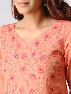 Peach Embroidered Mangalgiri Cotton Kurta with Pants (Set of Salwar Neck Designs, Churidar Designs, Kurta Neck Design, Neckline Designs, Dress Neck Designs, Bridal Blouse Designs, Embroidery On Kurtis, Kurti Embroidery Design, Hand Work Embroidery