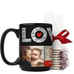 Love In A Word Mug, Black, with Ghirardelli Peppermint Bark, 15 oz, Black