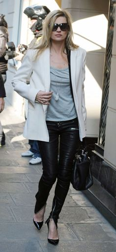 kate moss leather pants - Just love this look, leather is not just for night time, another must!