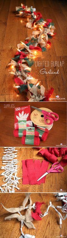 Lighted Burlap Garland | Christmas Crafts