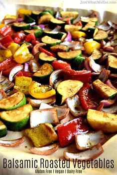 Roasted Vegetables - Gluten Free & Vegan These Balsamic Roasted Vegetables are incredible! They have so much flavor and are so easy to make!These Balsamic Roasted Vegetables are incredible! They have so much flavor and are so easy to make! Healthy Vegetable Recipes, Healthy Gluten Free Recipes, Healthy Vegetables, Roasted Vegetables, Vegan Gluten Free, Dairy Free, Paleo, Gluten Free Recipes Vegetables, Veggies