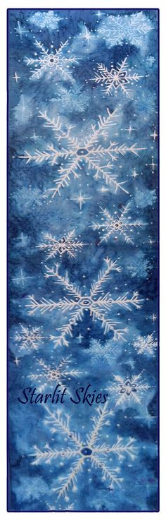 Winter is here and we are painting Snowflake Scarves! Handpainted Snowflake Scarf on Habotai Silk 8x54 by StarlitSkies, $58.00
