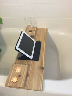 67 super ideas for bath tub tray wood diy Wood Bathtub, Bathtub Tray, Bathtub Caddy, Diy Bathtub, Bath Tub, Bath Trays, Bathtub Decor, Bath Board, Bath Shelf