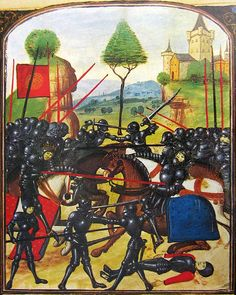 Battle of Barnet, April 14, 1471, Edward IV vs. Richard, earl of Warwick; Ghent MS, late 15th century