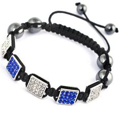 Dark Blue Black Nylon Crystal Hematite Bracelets Jewelry Gift