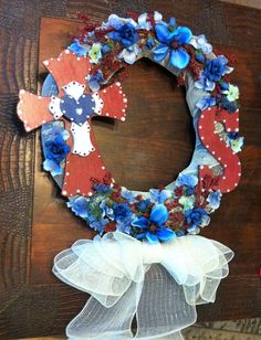 Red, White and Blue Cross Wreath for Housewarming Gift ~ Created by Christi T