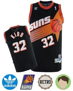 Support your favorite team in comfort with the Kids' Adidas Phoenix Suns #32 Jason Kidd Black Hardwood Classics Swingman Throwback Jersey! This pro-quality licensed jersey is made of quick-drying, breathable and durable polyester mesh. A this officially licensed jersey features the Phoenix Suns on t