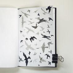 Special request for birds in flight pattern in sketchbook / art journal 59/365 by Two if by Sea Studios
