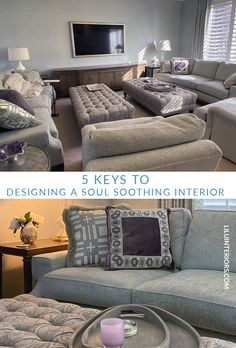 Designing a soul-soothing interior. LiLu Interiors shares 5 key ideas to inspire you to design a soothing interior Call LiLu Living Room Designs, Living Room Decor, Living Rooms, Home Office Design, House Design, Interior Blogs, Monochromatic Color Scheme, Soothing Colors, Interior Decorating