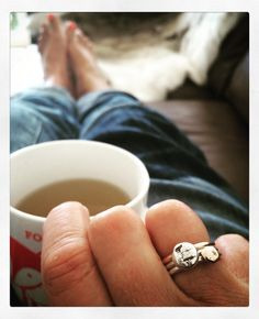 Feel a bit lousy today so a hot cup of chamomile and honey and just admiring my @luonejewellery stack of rings. Love a bit of rose gold. #jewellery #rings #cupoftea #pretty #rosegold #silver #bespoke #portfairy #birthdaypresents #stacked #rings #three thanks Lu and thanks guys for my birthday presents by missfarmerjojo