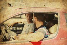 Diego Villalba, Álvaro Pérez y Lamine Thior durante el rodaje de Trescientos Pavos (300 Pavos)